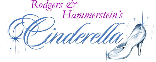 Rodgers and Hammerstein's Cinderella. 'Rodgers & Hammerstein's' name in purple over 'Cinderella' in blue with a glass slipper at the end.