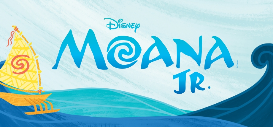 Blue ocean waves background with a yellow sailboat to the left of the word 'Moana' with swirls for the 'o'. The abbreviation for the word 'junior' underneath the letter 'n' in the word 'Moana'.
